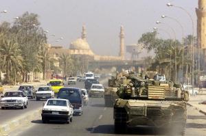 U.S. Marine tank in Baghdad, April 14, 2003. Photo source: Wikipedia